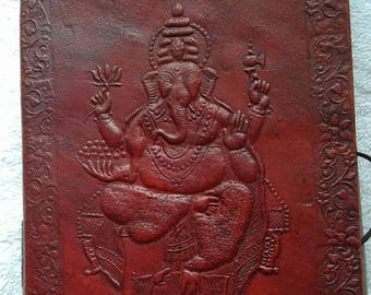 "7""x 5""Ganesh Leather Journal, Notebook,  Diary, Guest Book, Sketchbook"
