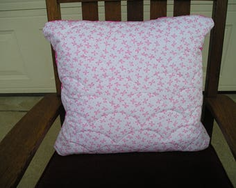 Pink Ribbon Quilted Pillow