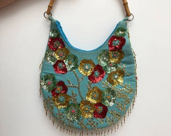 Pale turquoise Vintage, AN-BANG Beach party bags, Hand embroidered with sequins and embellishment, Bamboo handle.