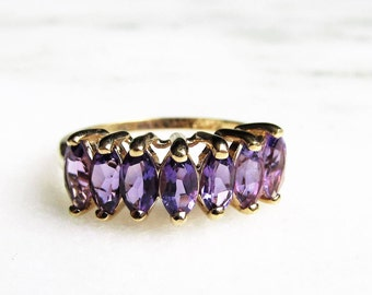 10K Yellow Gold Graduated Amethyst Marquise Cocktail Ring