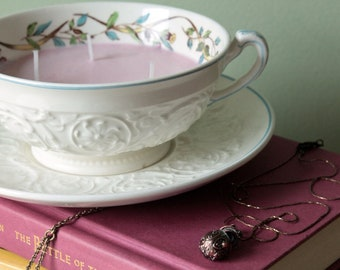 Vintage White Floral Server Soy Candle - Rose Scented