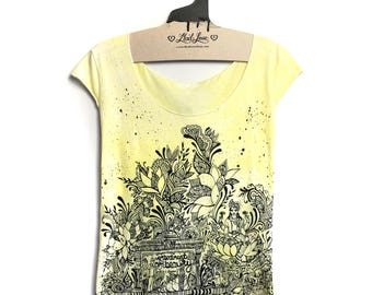 Large -Hand Dyed Yellow Tee with Beauty Grace and Charm Screen print with black splatter paint - Large