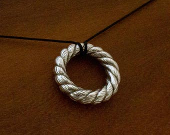 Silver rope ring pendant - strong twisted rope sculpted in sterling silver with oxidised details
