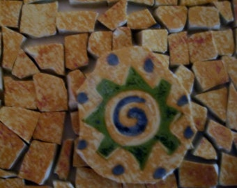 Supplies -Mosaic Tiles-  Beautiful set of Yellow Spattered w Rusty Orange and a Focal Tile of yellow marked w Green Dots, swirl