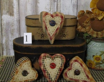 Primitive Country Heart Bowl Filler Ornies Set of 4