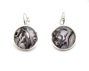 Made with Paint Round Half Planet Like Earrings in Grey, Purple, and White