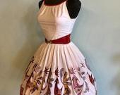 Vintage 1950s Novelty Rooster Border Print Cotton Designer Dress - Size XSmall
