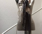 Extra Long Linen and Lace Winter Scarf