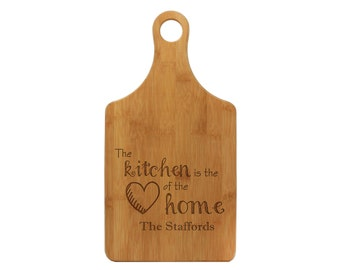 Personalized BAMBOO Paddle Cutting Board, Custom Engraved, Kitchen, Heart of the Home, Housewarming, Family, Gift Ideas --21013-PADB-001