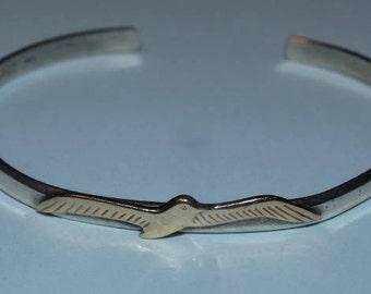 14K Gold Seagull Sterling Silver open back bangle bracelet, J.H. Breakell Fine Jewelry, Nautical Beach Jewelry, Summertime, Seagull Beach