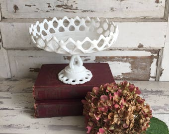 Vintage Westmoreland Milk Glass Open Lace Edge Compote Pedestal Bowl