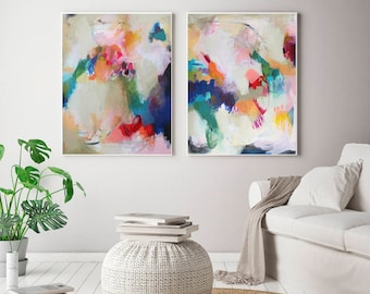 Etonnant Set Of 2 Extra Large Prints, Acrylic Abstract Painting Giclee Of Original Wall  Art,