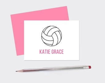 Set Of (10) Personalized Volleyball Note Cards