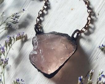 Rose Quartz Necklace - Raw Rose Quartz Necklace - Rose Quartz Raw Crystal Pendant - Faerie Magick - Copper Electroplated Necklace - Hyadena