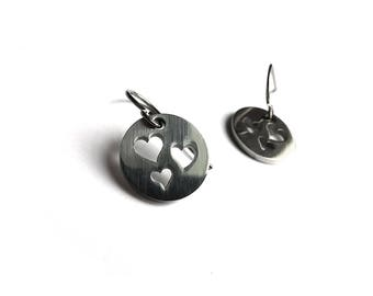 Silver triple heart dangle earrings - Hypoallergenic pure titanium and stainless steel