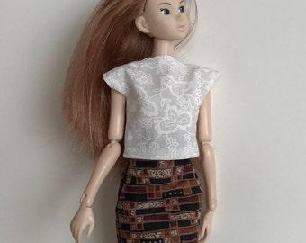 Handmade Doll Clothes fits Pullip Blythe Momoko Skipper Moxie type dolls Top Skirt P D Reneau Design (S526)