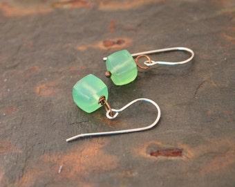Green Chalcedony Cube Earrings