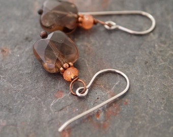 Sunstone and Smoky Quartz Earrings