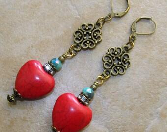 RED Howlite HEART Green Blue Crystal Bronze Tn Filigree LeverBack Earrings