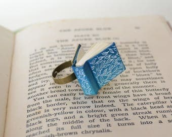 Miniature Light Blue Book Ring with White Leaves.  Book lover  ring