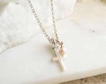 Children's Silver Cross Charm Necklace
