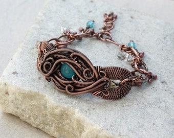 Blue Jade Link Bracelet, Statement Bracelet, Antique Copper, Rustic, Wire Wrapped, Canada, Handcrafted