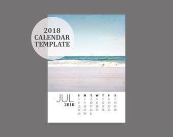 2018 Calendar Template 5x7 size loose sheet 12 month