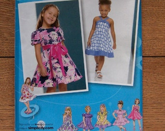 2008 simplcity pattern 2989 child girl dresses with bodice and skirt variations sz 4-8 uncut