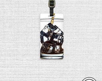 Luggage Tag On the Rocks Glass of Ice Drink  Metal Luggage Tag With Printed Custom Info On Back, Single Tag