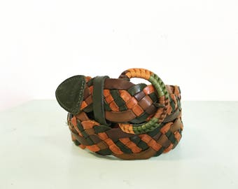 Vintage 1970s Leather Braided Green and Brown Belt