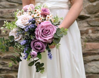 Lavender and Lilac Wedding, Lilac Wedding Flowers, Bouquet, Silk Bridal Bouquet, Wedding Flowers, Artificial Flowers, rose bouquet