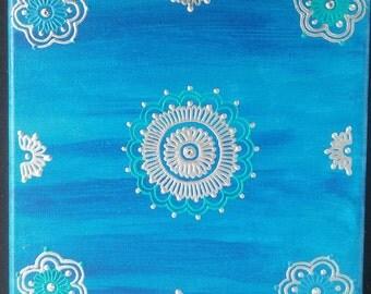 Acrylic on Canvas Henna Painting
