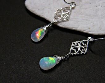 Opal earrings for women, opal jewellery, Ethiopian opal earrings, opal jewelry, opal drop earrings, Welo opal PETITE earrings in 925 silver