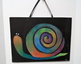 Hand Painted Snail      Wall Decor         Whimsical Art,   Child's Room Decor,   Snail ,  Kids Room Original Painting