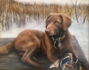 "16"" x 20"" Custom Pet Portrait dog portrait - custom painting - dog lover - fine art portrait"