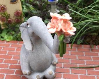 Elephant Figurine, Elephant With Flowers, Mini Elephant, #4627,  Fairy Garden Accessory, Home & Garden Decor, Shelf Sitter, Toppe