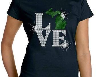 Rhinestone Tshirt Love Michigan Premium LAT Brand Ringspun Cotton Short Sleeve Shirt