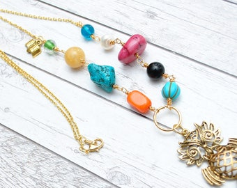 Wisdom Bird Necklace - Gemstones necklace