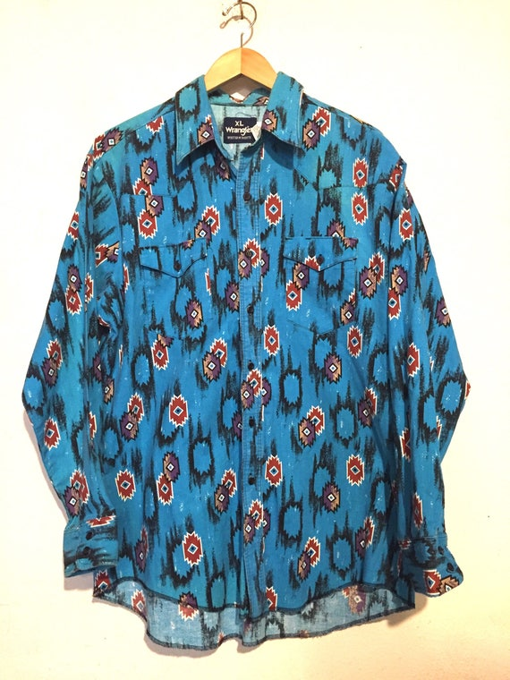 90s Vintage Bold Colors South Western Print Button Up