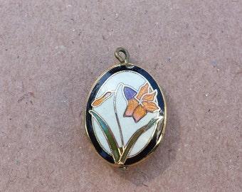 Art Nouveau Flower Pendant, Oval Enamel, Small Puff Pendant