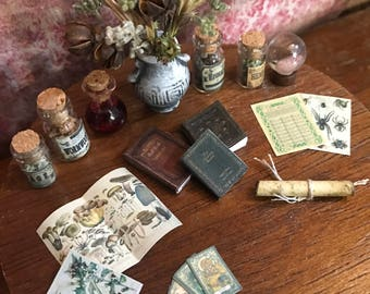 """Dollhouse witch accessories, set 1 of 7, potion, crystal ball, herbs, books, tarot cards, and more!  1:12 1/12 1"""""""