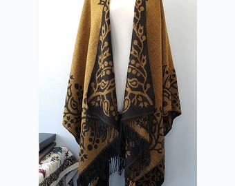 Fringe poncho Mustard yellow and black floral wrap Native american clothing Bohemian poncho winter blanket scarf womens gift for her