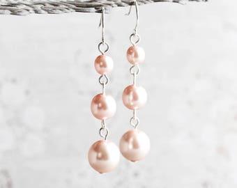 Light Rose Pink Crystal Pearl Dangle Earrings on Silver Plated Hooks