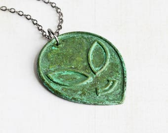 Green Patina Alien Head Martian Sci Fi Necklace on Gunmetal Black Chain (Hand Patina)