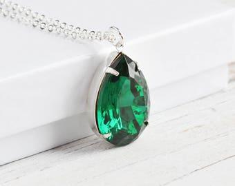 Large Dark Emerald Green Rhinestone Teardrop Necklace on Silver Plated Chain (25mm)