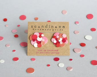 Pink Red Valentine Confetti Leather Statement Stud Earrings Surgical Stainless Colourful Sustainable Eco Friendly Gift Gifts Japanese