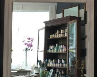 One savvy design custom furniture montclair nj by onesavvydesign vintage antique mirror with grate detail at the top painted shabby chic white with grey accents negle Images