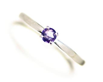 Blue Tanzanite Ring Size 6 3/4 (0.22 ct) Purple Tanzanite Womens Ring Sterling Silver, Tanzanite Solitaire Ring 7, Simple Tanzanite Jewelry