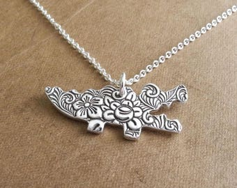Alligator Necklace, Flowered Alligator Crocodile, Fine Silver, Sterling Silver Chain, Made To Order