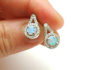 Blue Opal Earrings CZ Stud Earrings, Opal Studs, October Birthstone, Dainty Diamond Accent Stud Earrings, Opal Jewelry, gifts for her